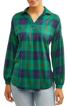 Laundry by Shelli Segal New York Women's Long Balloon Sleeve Plaid Tunic