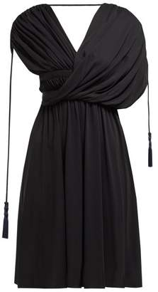 Lanvin Draped Tasselled Crepe Dress - Womens - Black