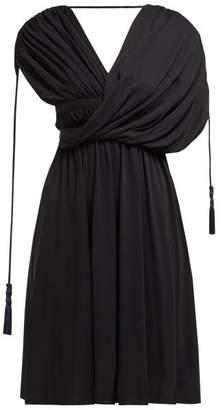 Lanvin Draped Tassel Trim Crepe Dress - Womens - Black