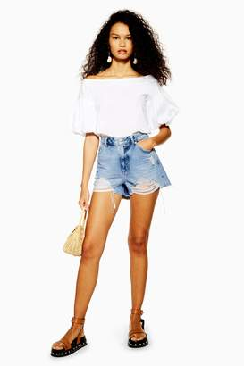 Topshop Womens Petite Ripped Denim Mom Shorts - Mid Stone