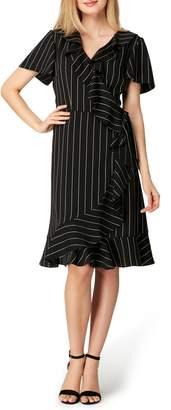 Tahari Stripe Ruffle Faux Wrap Dress