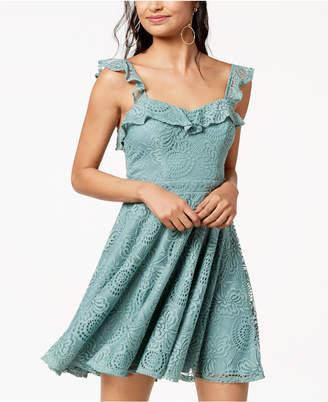 City Studios Juniors' Ruffled Lace Fit & Flare Dress