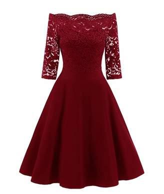 Jessica CC Women's Vintage Floral Lace Off Shouler Half Sleeve Formal Wedding Dresses