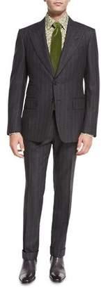 TOM FORD Shelton Base Flannel Stripe Sport Jacket, Gray $3,630 thestylecure.com