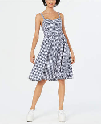 e0faaedf363 French Connection Lavande Gingham-Print Button-Front Dress