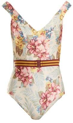 Zimmermann Kali Hibiscus Floral Print Swimsuit - Womens - Blue Multi