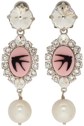 Miu Miu Pink and Silver Cameo Swallow Clip-On Earrings