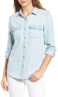 Petite Women's Caslon Chambray Shirt $69 thestylecure.com