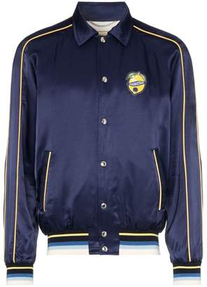 MAISON KITSUNÉ embroidered printed cotton bomber jacket