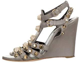 Balenciaga Leather Caged Wedges Grey Leather Caged Wedges
