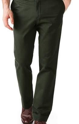 Charles Tyrwhitt Dark green slim fit flat front washed chinos