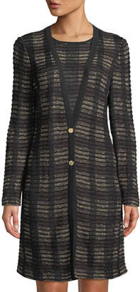 Misook Plaid 2-Button Long Knit Jacket, Plus Size