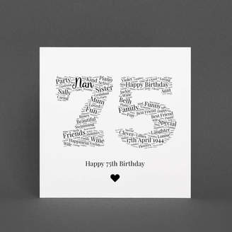 Hope and Love Personalised 75th Birthday Gift Print