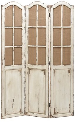 """DecMode 48"""" x 71"""" Large 3-Panel White Wood Screen Decorative Room Divider w/ Fabric Window Panes"""