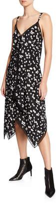 Jason Wu Spring Daisy-Print V-Neck Sleeveless Handkerchief Dress