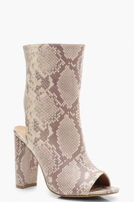 boohoo Extra Wide Fit Snake Peeptoe Shoe Boots