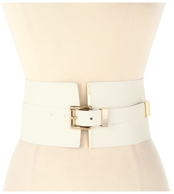 MICHAEL Michael Kors Michael Kors 105MM Corset Belt w/ Metal Tip and Roller (White) - Apparel