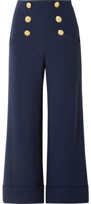 Alice + Olivia Alice Olivia - Ferris Button-embellished Jersey Wide-leg Pants - Navy