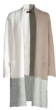 Donna Karan Women's Open Front Colorblock Cardigan