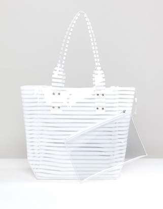 Chateau White Striped Jelly Tote With Wristlet Clutch
