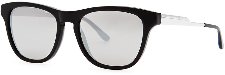 Stella McCartney Mirrored Square Acetate Sunglasses, Black/Smoke