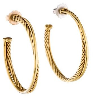 David Yurman 18K Crossover Hoop Earrings $1,245 thestylecure.com