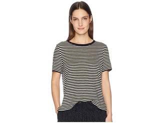 Eileen Fisher Organic Linen Tencel Round Neck Short Sleeve Top