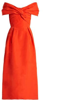 Carolina Herrera Off The Shoulder Silk Faille Dress - Womens - Orange