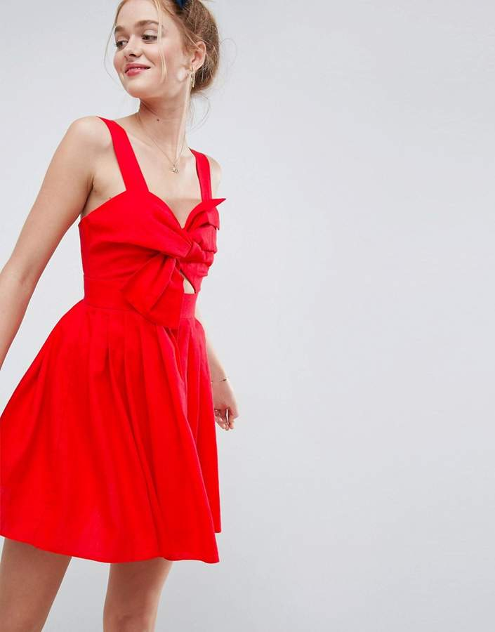 AsosASOS Bow Detail Cut Out Skater Dress in Linen