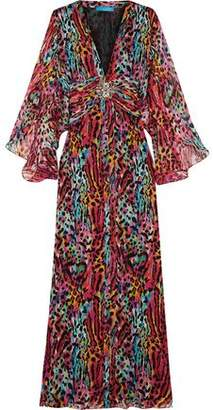 Matthew Williamson Akita Embellished Printed Silk-chiffon Maxi Dress