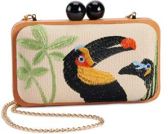 Violet Ray Embroidered Toucan Hard-Side Clutch
