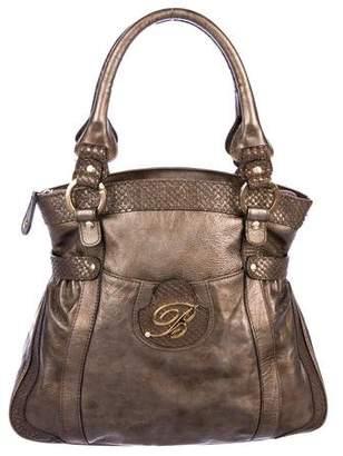 Blumarine Snakeskin-Trimmed Handle Bag
