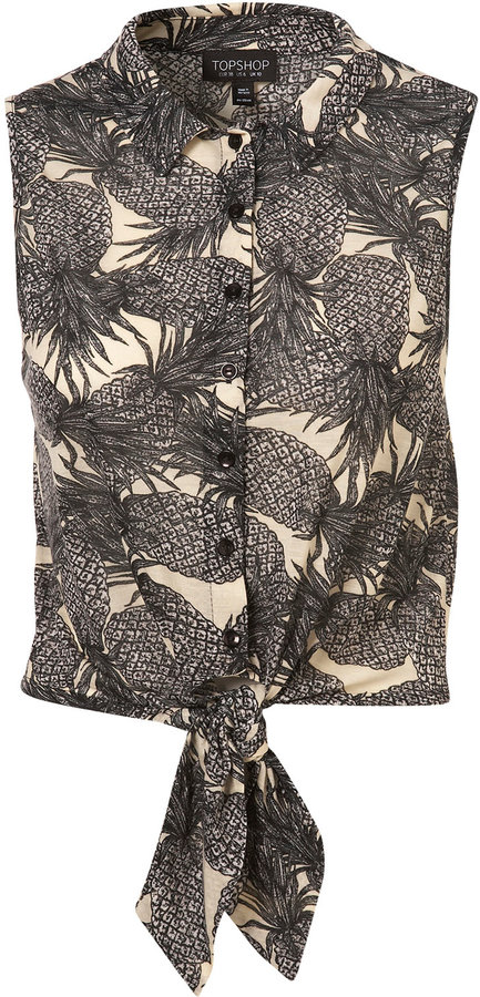 Grey Pineapple Print Cropped Shirt