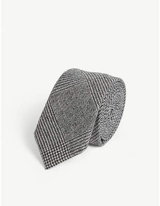 Eleventy Check boucle wool tie