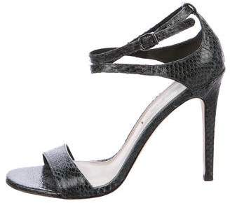Via Spiga Snakeskin Ankle-Strap Sandals