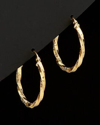 Italian Gold 18K Greek Key Twisted Hoops