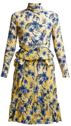 Balenciaga Floral Print Stretch Jersey And Silk Crepe Dress - Womens - Yellow Print