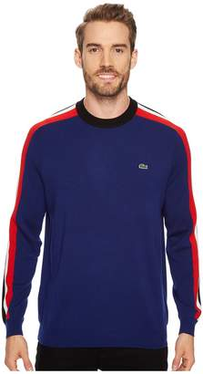 Lacoste Mouline Jersey Jacquard Wool Blend Sweater with Stripes On Sleeve Men's Sweater