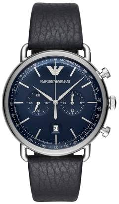 Emporio Armani Aviator Leather Strap Chronograph Watch, 43mm