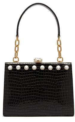 0a5027ae7ef Miu Miu Solitaire Crocodile Effect Patent Leather Bag - Womens - Black