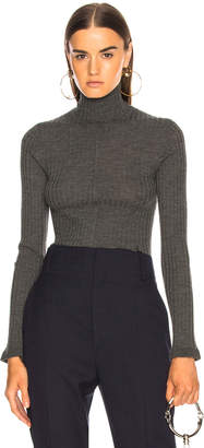 Chloé Fine Rib Wool Knit Turtleneck Sweater in Pearly Black | FWRD