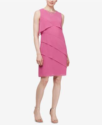Sl Fashions Embellished Tiered Chiffon Dress