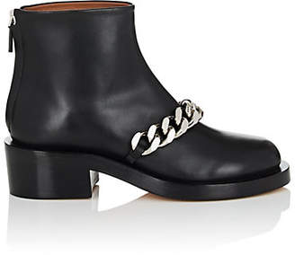 Givenchy Women's Chain-Embellished Leather Ankle Boots - Black