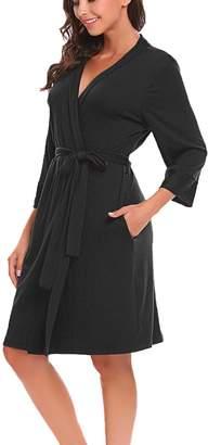 bfd7e4b89fbad Bluetime Women Robe Soft Kimono Robes Cotton Bathrobe Sleepwear Loungewear  Short (S, )