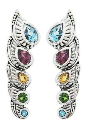 Samuel B Jewelry Sterling Silver Bezel Set Semi-Precious Stone Climber Earrings
