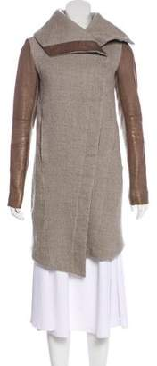 Helmut Lang Linen-Wool-Blend Knee-Length Coat