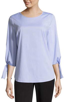 COMO BLU Como Blu 3/4 Tie Sleeve Crew Neck Woven Shirt
