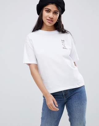 Asos DESIGN left my heart in paris with embroidered heart print t-shirt