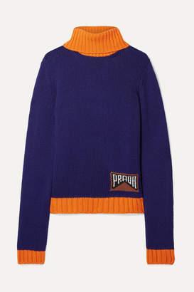 Prada Intarsia Cashmere-blend Turtleneck Sweater - Indigo