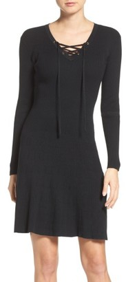 Women's Fraiche By J Lace-Up Ribbed A-Line Dress $124 thestylecure.com